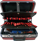Tool Case VDE 1000 V Hard-Shell red with 32 safety tools