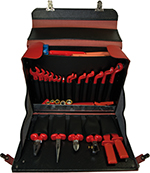Tool Case heavy leather red complete with 35 Safety Tools 1000 V