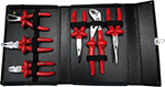 Tool Set  1000 V with 6 Pliers in black folding Bag